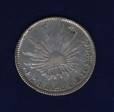 MEXICO  CULIACAN MINT  1850-C-CE  4 REALES SILVER COIN, XF, FLAN FLAW