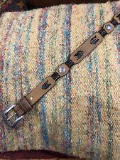 Youth Boys 20 Leather Western Cowboy Tan Brown Belt Silver Conchos Buckle