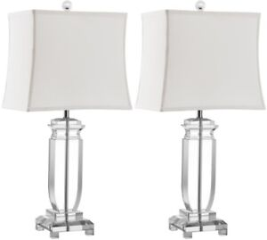 Table Lamp 24 in. Clear Crystal with Rectangular Off White Shade (Set of 2)