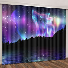 2Pcs/Set 3D Starry Sky Door Window Curtain Panel Bedroom Valance Galaxy Decor