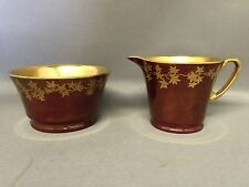 Art Deco CROWN DEVON FIELDINGS Ruby Red Luster Gold MODANE Open Sugar & Creamer