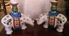 Vintage Chinese Elephant Joss sticks Porcelain Candlesticks