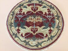 """3'.0"""" X 3'.0"""" Red Beige Green Agra Persian Oriental Rug Round Hand Knotted Wool"""