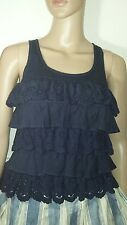 abercrombie and fitch women navy  ruffle tank top xs