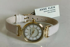 NEW! ANNE KLEIN TWO-TONE WHITE & GOLD GENUINE LEATHER BRACELET WATCH SALE