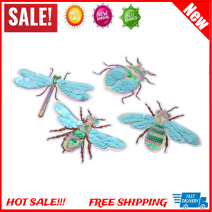 4Pcs Sequin Cute Insect Patches DIY Iron/Sew On Clothes Washable Applique Decor