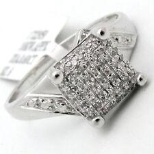 Diamond Cocktail Ring Square Pave Unique Design 0.60TCW 10K White Gold Size 6