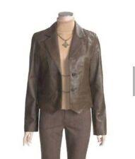 Womans Real Leather Jacket Coat Mint Open Front Rare Vintage Wrangler Levi's