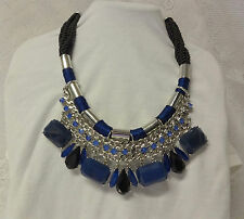 Vintage Signed Chico's Massive Chunky Runway Huge Navy Blue Rhinestone Necklace