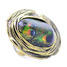 anello occhio piuma di pavone tratto resina regolabile, contorno di bronzo