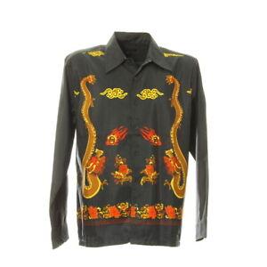 Herren Langarmhemd Größe M Shirt Drachen Motiv Print Schwarz Kentkragen