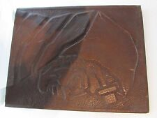 Old Vintage Copper Relief Art Signed Tefillin Judaica Jewish Torah preying hand