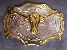 Head New 2 tone Pewter Belt Buckle Animal Steer