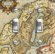 NORWAY & SWEDEN Vintage Map Double Switch Plate  ***FREE SHIPPING***