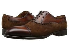 Magnanni Men's Cognac Leather/Suede Oxfords, US 11.5