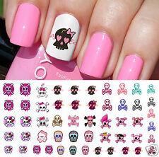 Cute Skulls Set #2 Nail Art Waterslide Decals-Monster High Style-Salon Quality!