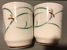 New Set of 2 Japan Fukagawa Koransha Porcelain Green Tea Cups Orchid Gold Flower