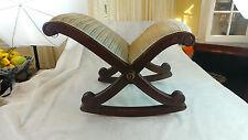 Antique Mahogany X Cross Legs Foot Stool Wood