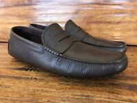 Mens Tod's Driving Moc Loafers Dark Brown Pebble Leather Size UK 9 US 10