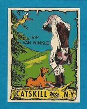 """VINTAGE ORIGINAL 1948 """"RIP VAN WINKLE"""" CATSKILL MTS. N.Y. TRAVEL WATER DECAL ART"""