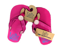 Girls Shoes Kids Waveware Flip Flops Arch Support Pink with Bling SIZE 9/10