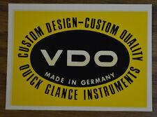 ORIGINAL VINTAGE WATER DECAL VDO GAUGES GERMANY VW PORSCHE 356 SPEEDSTER BUS BUG