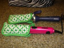 Flat Iron / Curling Iron Fabric Case/ Cover Travel Size 2 piece Set Green shapes