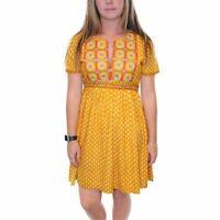 GRETCHEN SCOTT Women's Sz XS Mustard and Creme Boho Floral Embroidered Dress