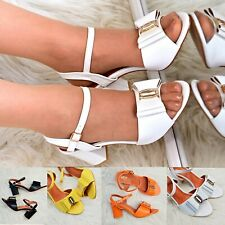 Womens Block Heel Bow Sandals Strappy Shoes Open toe Ankle strap Summer size