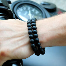 2Pcs Men Women 8MM Black Onyx Lava Stone Yoga Mala Beaded Charm Wrist Bracelets