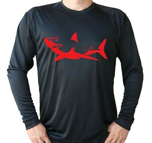 Shark Fish Long Sleeve UPF 30 T-Shirt Sport Fishing Boat UV Sun Protection
