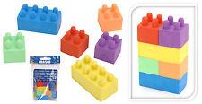 2 Packs of 6 Coloured Building Brick Block Erasers Rubber Eraser