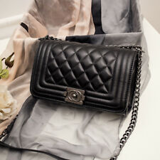 Women's Quilted Chain Black Bag PU Leather Shoulder Bag Crossbody Handbag Ladies