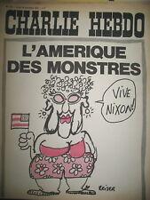CHARLIE HEBDO N° 104 L'AMERIQUE DES MONSTRES VIVE NIXON DESSINS REISER CABU 1972