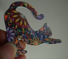 YOGA CAT STRETCHING  MOSAIC FLORAL PIN COLORFUL BROOCH JEWELRY CAT RESQ