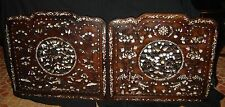 Antique Chinese Qing Huge Pair Carved Open Rosewood Mother of Pearl Wall Panels.