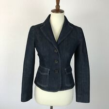 Ann Taylor Petite Cotton Polyester Blend Lined Denim Blazer Coat Jacket Sz 0P