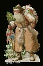 German Embossed Scrap Die Cut -Large Christmas Santa With Toys & Tree     BK5164