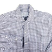 LEDBURY Blue Brown White Gingahm Check 100% Cotton Mens Dress Shirt 15.5 x 34