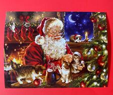 🎄12 pk  leanin Tree Christmas Cards Santa & Kitten friendly & sweet jolly xmas