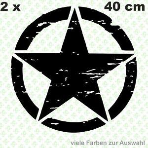 2 x 40 cm Army Stern AUFKLEBER OLDSCHOOL RETRO HOTROD RAT US STAR