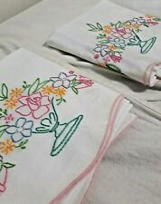 PAIR Vintage Hand Embroiderd Floral Vase White Cotton Pillowcases Standard