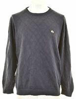 LACOSTE Mens Crew Neck Jumper Sweater Size 7 XL Navy Blue Cotton KH03
