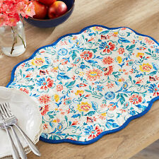 Pioneer Woman Set Of 4 Mazie Floral Reversible Scalloped Placemats NWT Farmhouse