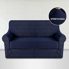 Luxury Blue Settee Couch Protector 2 Seater Sofa Covers Easy Stretch Slip Covers