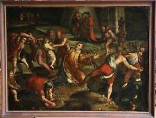 16th siècle italien Old Master huile sur toile-Lapidation de saint étienne