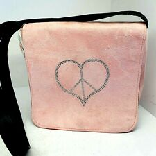 Nancy Davis Peace and Love Pink Suede Messenger Bag Rhinestone Accents  NWT $80