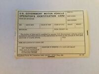 US Government issue motor vehicle ID Card Vietnam War era (NOS) New Old Stock
