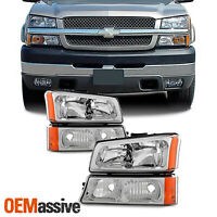 Fit 2003-2006 Chevy Silverado 2003-06 Avalanche Headlights+Bumper Signal Lights