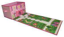 Foldable Toy Box With Roll Out Play Mat for Girls with Toys - Doll